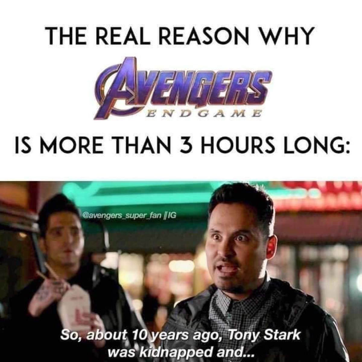vengeful aboard tacit Yak. .. Avengers is not 3 hours long. it is only 15 minutes long for me. because I left within 15 minutes.