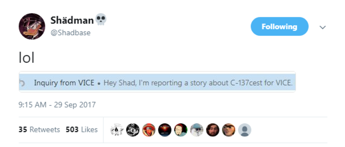 Vice Asks Shadman For An Interveiw. . Ill) @Shadbase ( NP' Ital o Inquiry from VICE u Hey Shad, I' m reporting a story about for VICE 9: 15 AM - 29 Sep 2017. >C-137cest I swear to God if this is about Rick And Morty