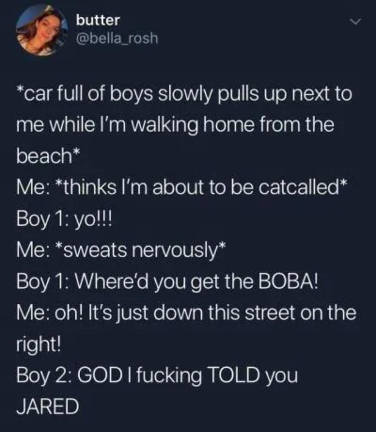 """Walking Home"". .. Whats a boba?"