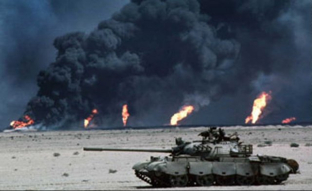 War: First Gulf War. On August 2nd, 1990, Iraqi leader, Saddam Hussein invaded neighboring Kuwait with 88,000 troops. He wagered that the US would not get invol