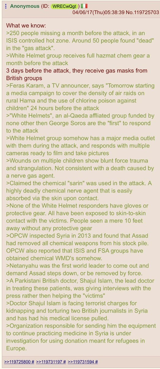 """Was the Syrian """"gas attack"""" a false flag?. /pol/ is working around the clock to determine if the Syrian """"gas attack"""" was a false flag designed to mani"""