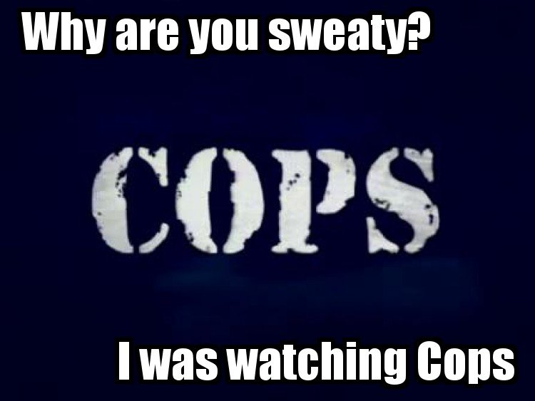 Watching Cops. . WIN are Will COPS. I KNOW YOU'RE LYING how? COPS DOESNT START TIL 4!!! IM GONNA GO RUB MY BALLS ON YOUR DRUMSET /step brothers god damn i love that movie....