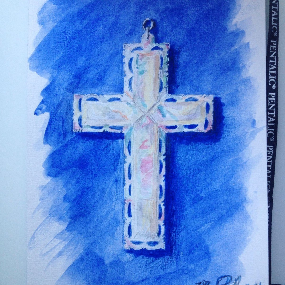 Watercolor Cross. join list: WatercolorAndOrInk (21 subs)Mention History This is a beautiful cross from Jerusalem my godmother got me for Easter. <3 Watercol
