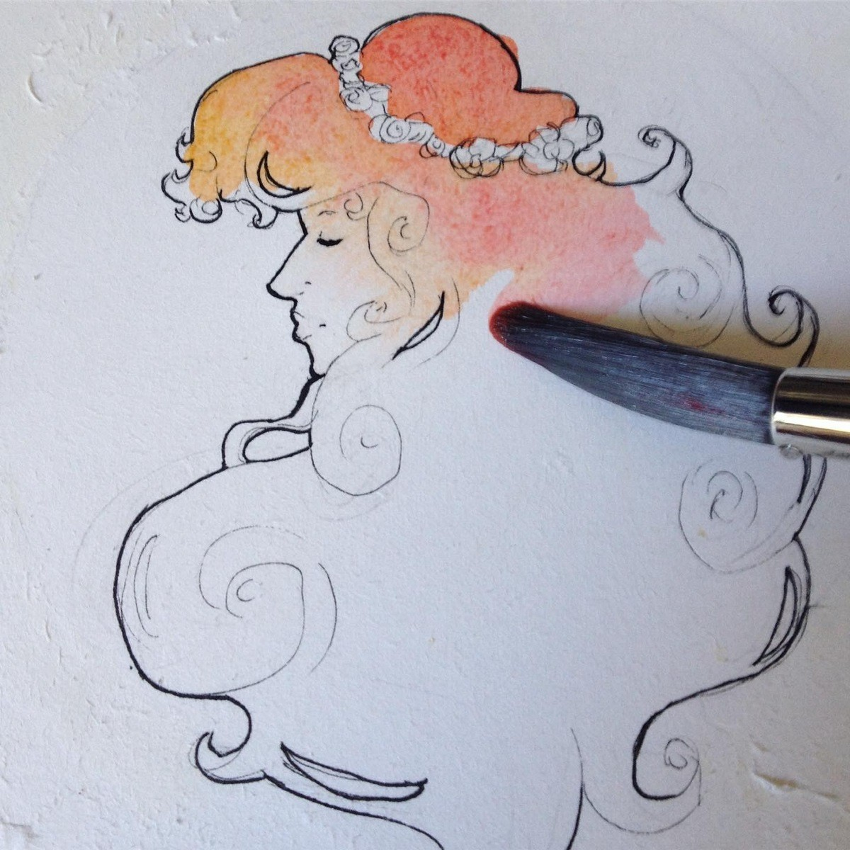 Watercolor Red Head. Trying to apply my Mucha study to my own work. ^-^ I did not intend to make it as moody as it came out, I do really like ink. join list: Wa