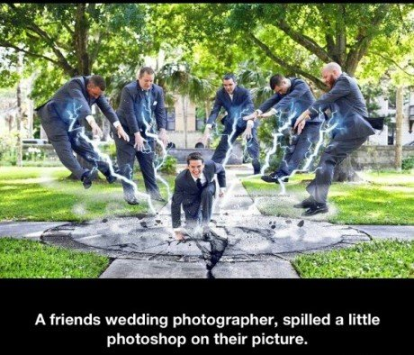 wedding photo winning. . A friends wedding photographer, spilled a little photoshop an their picture.. Oh no, a T-Rex has ruined this wedding! How horrifying.