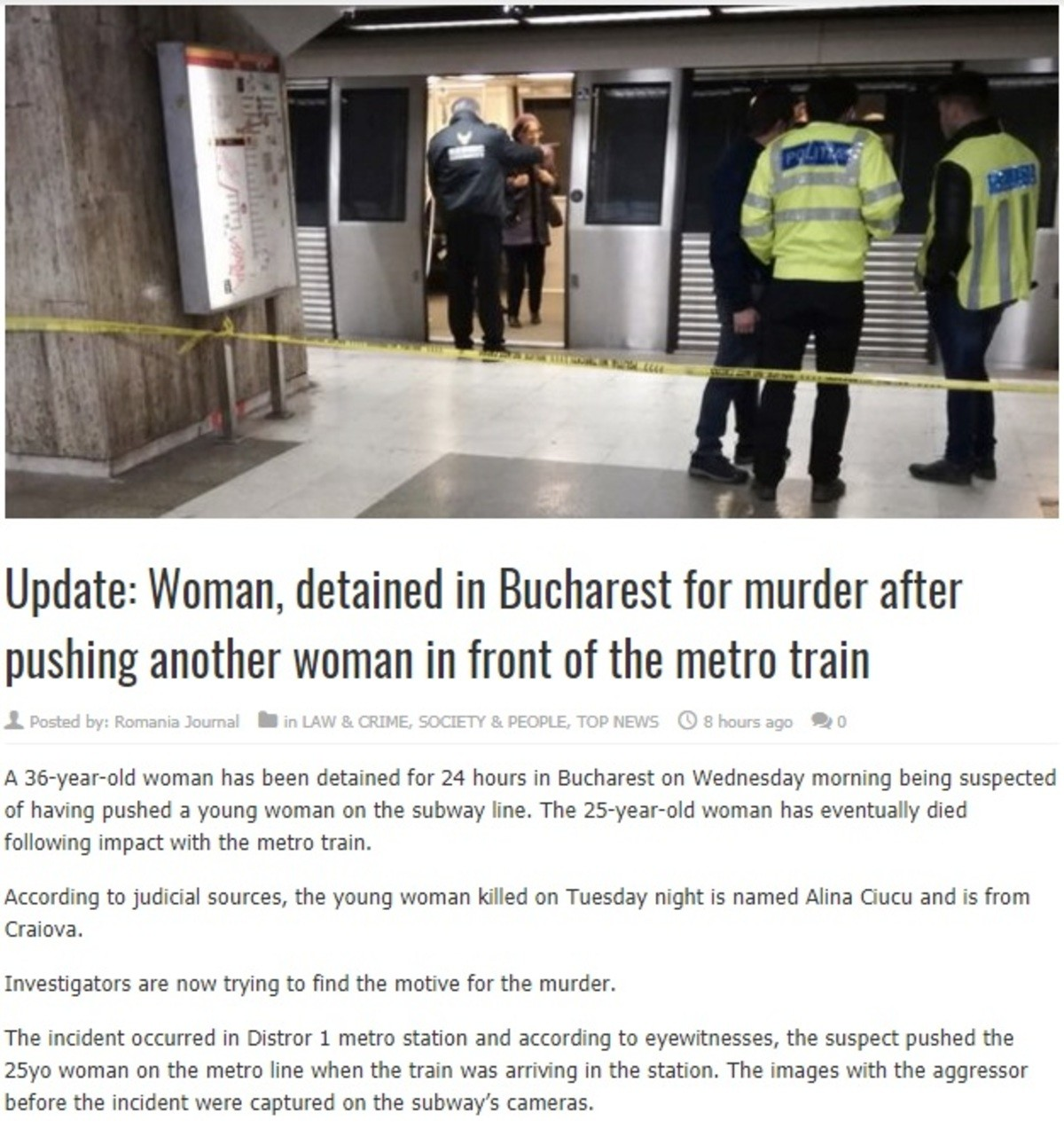 Weird murder in Romania. A young woman was just waiting for the metro train when a middle-aged woman walked by and out of the blue pushed the former in front of