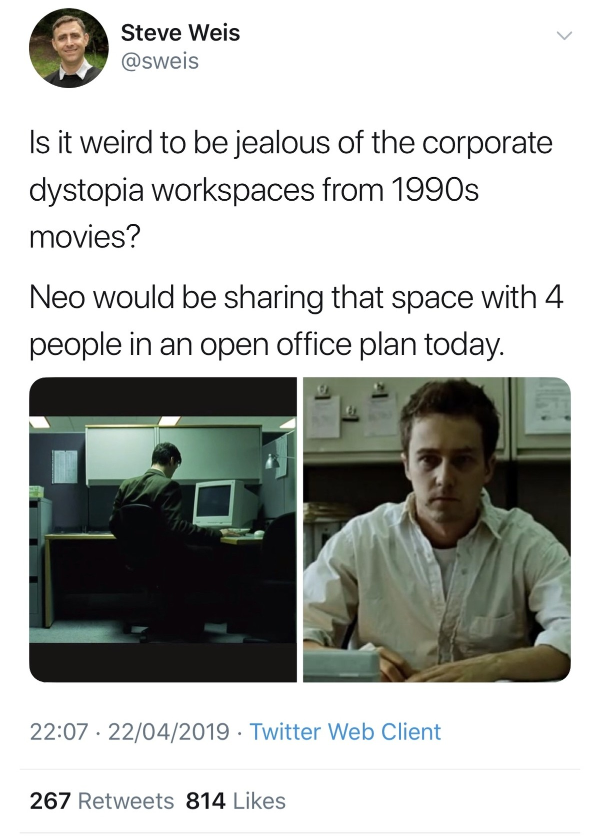 weird. .. I work in an open office layout, it's not too bad when the people around you are really cool. Everyone is pretty quiet and respectful too.