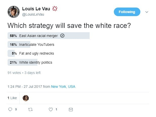 What Will Save The White Race?. . T ills Louis Le Van -1' 33: Which strategy will save the white race? East Asian racial merger IE) 5% Fat and ugly rednecks 215