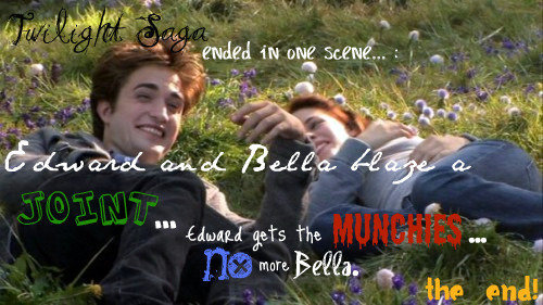 What should have happened in twilight. yeah... i know they are all gay.. Maybe if they were smoking and both fell asleep in a puddle of kerosene. That would be more entertaining and they would BOTH be gone.
