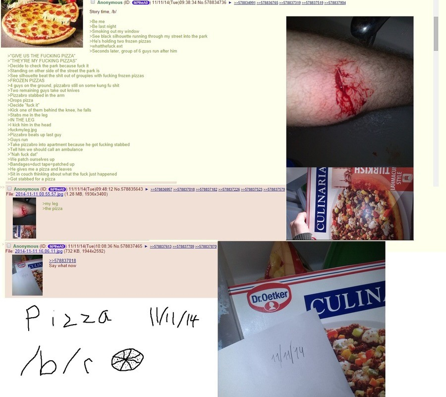 """Where did you go, pizza bro?. I'd get stabbed for the sweet taste of Papa John's 12"""" deep pan cheap oven cooked pizza anyday.. Story time. IN last night rs"""