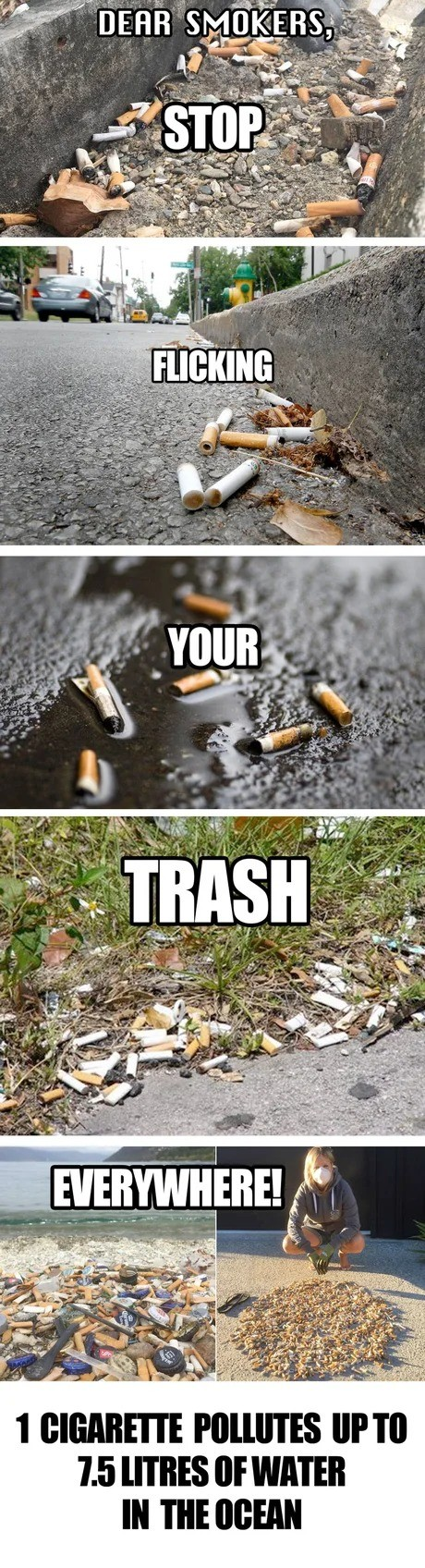 While the EU worries about plastic straws .... .. never understood smokers' habit to throw their cigarette buds everywhere