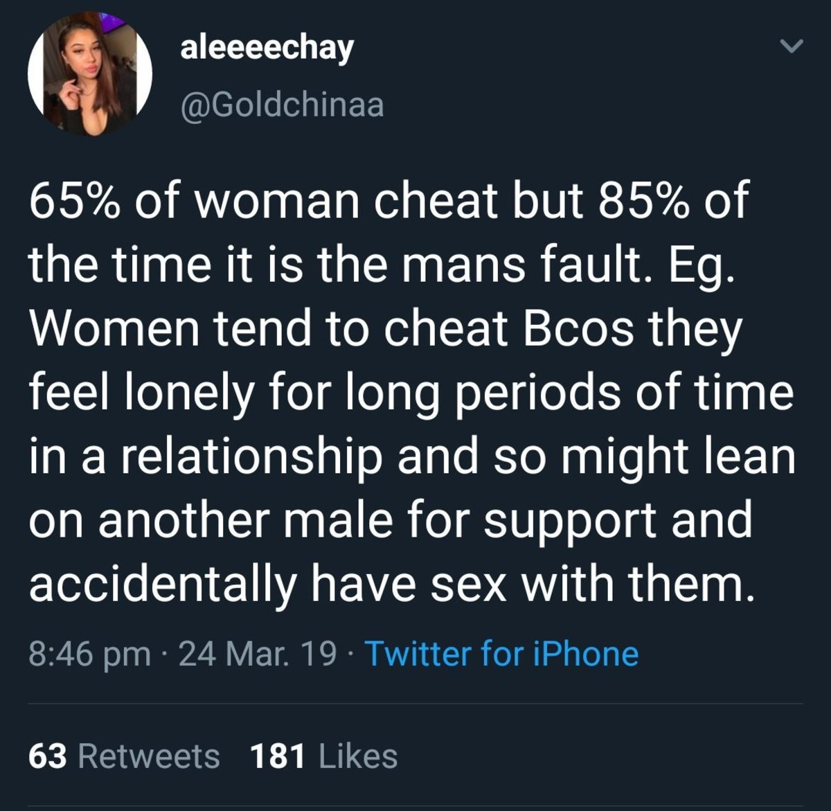 Why women cheat. join list: DailyTumblr (983 subs)Mention History DailyTumblr.. Sounds like thot propaganda but ok