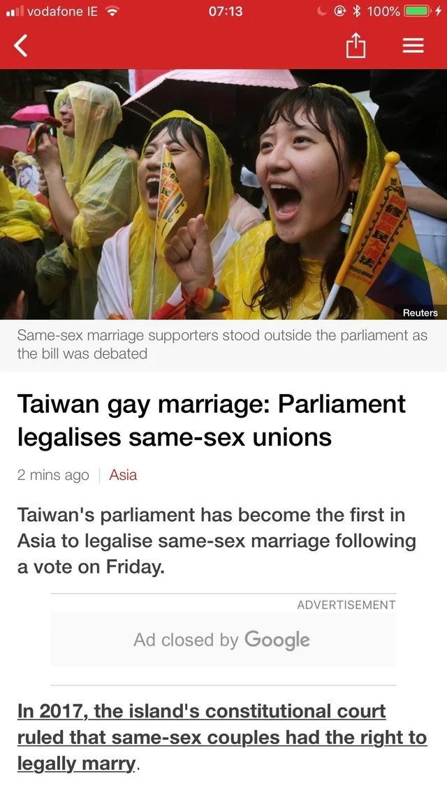 Wonderful news to wake up to. .. Great! Hopefully this is indicative of a more western liberal trend in the region.