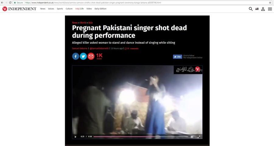 WTF. https://www.independent.co.uk/news/world/asia/samina-samoon-sindhu-shot-dead-pakistan-singer-pregnant-ceremony-kanga-larkana-a8300746.html. tr? News Voices