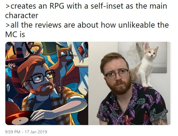 YIIK: A Postmodern RPG. .. TBF, that may not be because he's a bad guy (he might be I don't know), it may just be because ALL self inserts are terrible and the culture of self inserts in