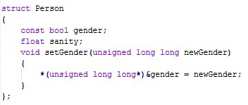 You are doing something wrong here. . atract Person const: haul gender; float sanity; void ? consigned long long ] i 'consigned long ? = verwendet?;