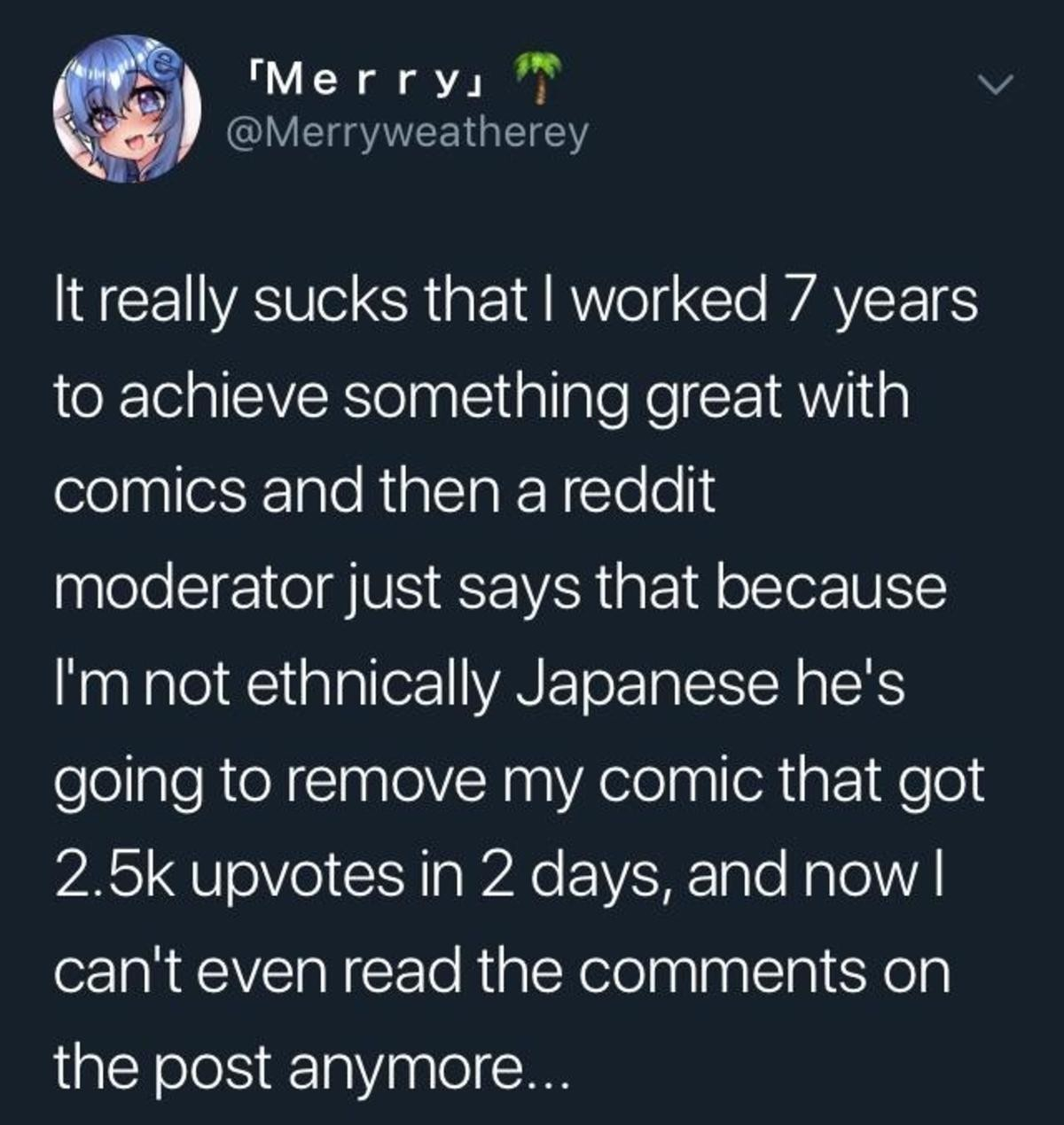 You ok, merryweathery?. .. I remember that post! I asked merryweathery if he felt I was a better moderator than that guy and he said yes. It made me really happy.