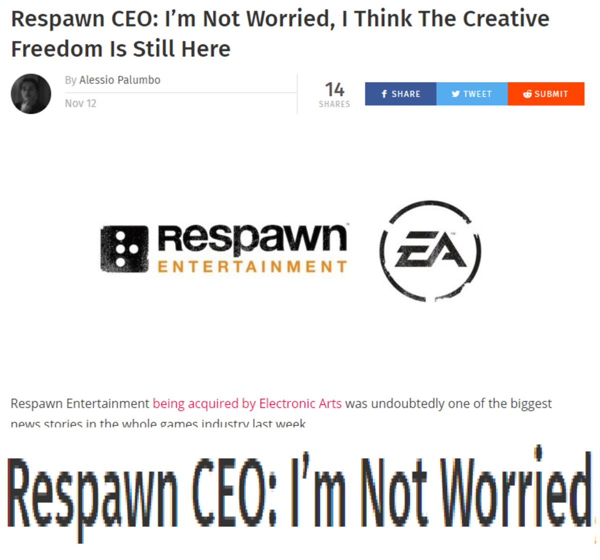 You will be. join list: VideoGameHumor (1706 subs)Mention Clicks: 598456Msgs Sent: 5842419Mention History. Respawn CEO: I' m Not Worried, I Think The Creative F