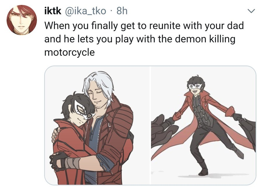 You've heard of Bayo-mom. But consider Dad-Dante join list: PersonaPosts (257 subs)Mention History.. Well they'd have to explain how Bayo's black hair wins over Dante's white even tho Nero's got white hair too
