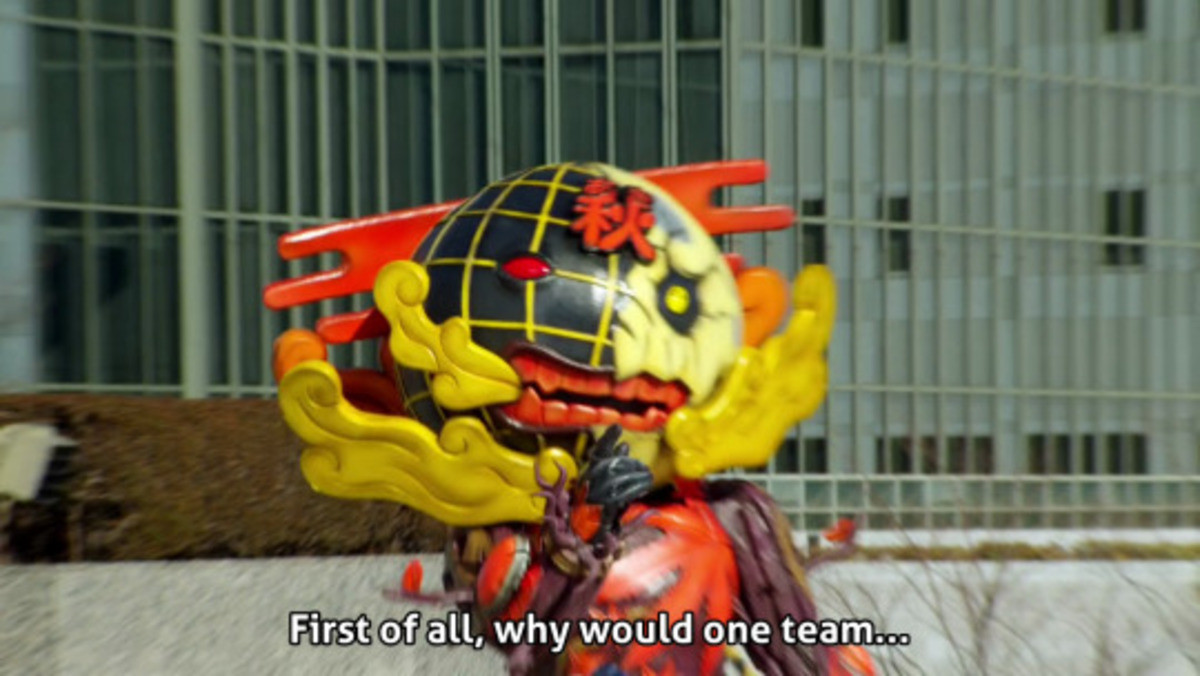 Zyuden Sentai Kyoryuger. .. Okay but I think the more pressing matter here is the fact that the helmet for purple dead ass looks like Barney the Dinosaur