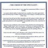 The Specialist Creed